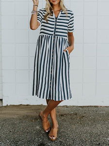 A-Line V Neck Pocket Striped Dress