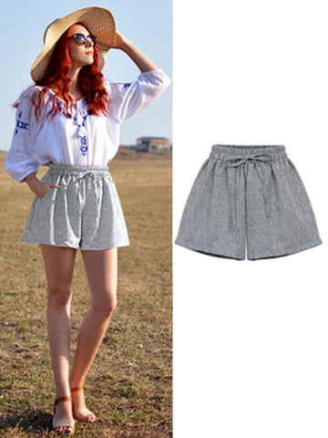 Casual Bow Plus Size Shift Short Cool Pants