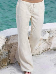 Casual Pockets Solid Color Pants Trousers