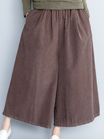 Solid Casual Corduroy Wide Leg Pants