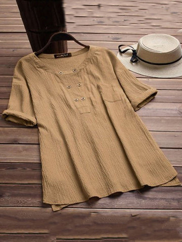 Short Sleeve Casual Linen Plus Size Blouses