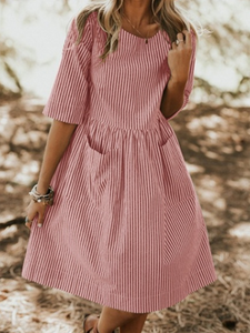 Striped Crew Neck A-Line Dress
