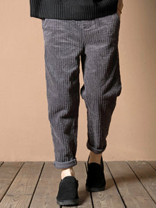Pockets Casual Solid Corduroy Pants