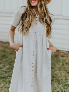 Gray Pockets A-Line Dress