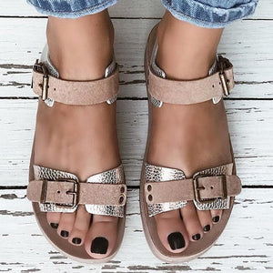 Comfy Flat Heel Peep Toe Buckle Flat Sandals