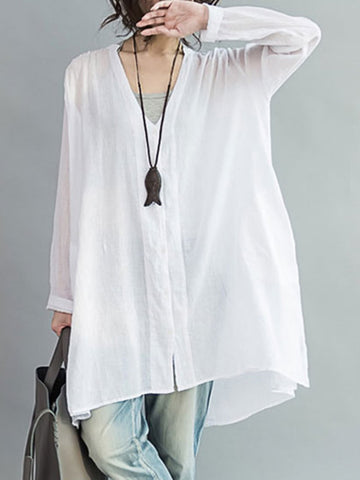 Casual Buttoned Pockets Two Piece Blouse