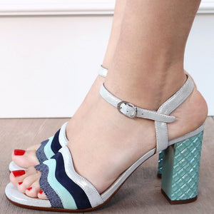 Women Color Block Chunky Heel Buckle Strap Pumps Sandals