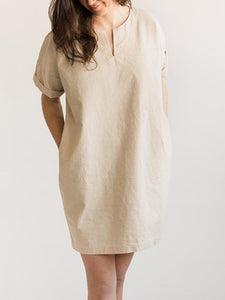 V Neck  Short Sleeve Plain Dress