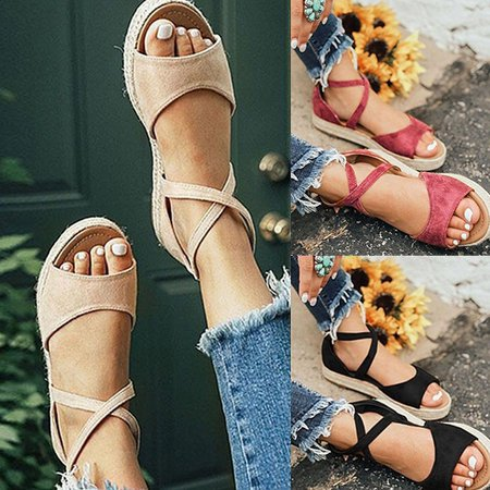 Fashion Women Espadrilles Style Flat Sandals