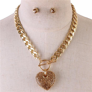 Icy Palace Chocolate Colored Heart Pendant with Chunky Chain Link Necklace - Icy Palace
