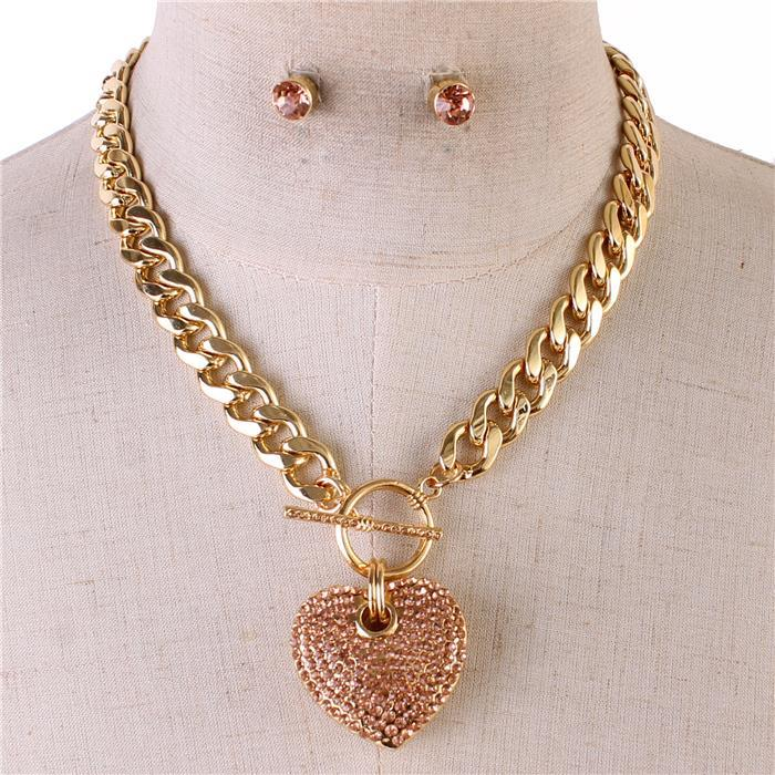 Icy Palace Peach Colored Heart Pendant with Chunky Chain Link Necklace - Icy Palace