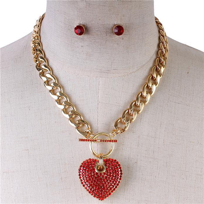 Icy Palace Red Heart Pendant with Chunky Chain Link Necklace - Icy Palace