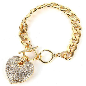Icy Palace Heart Pendant Chain Bracelet - Icy Palace