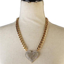 Icy Palace Chain Crystal Heart Pendant Necklace Set - Icy Palace