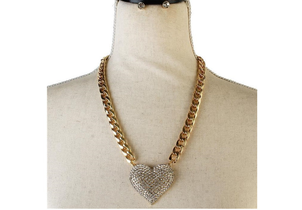 Icy Palace Chain Crystal Heart Pendant Necklace Set GOLD - Icy Palace
