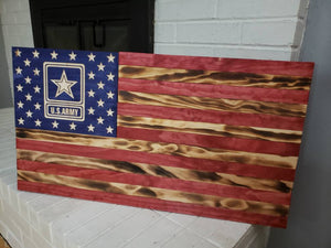 "36"" American Flag CNC Wooden Flag US Army"