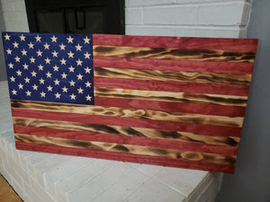 "36"" American Flag CNC Wooden Flag Stars and Stripes"