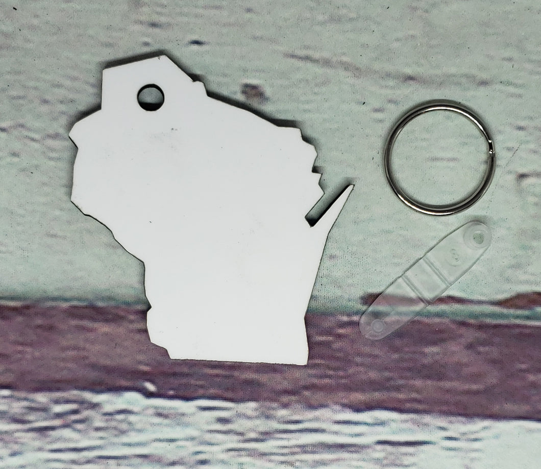 Wisconsin Sublimation Blank | Key Chain | Key Ring Sublimation