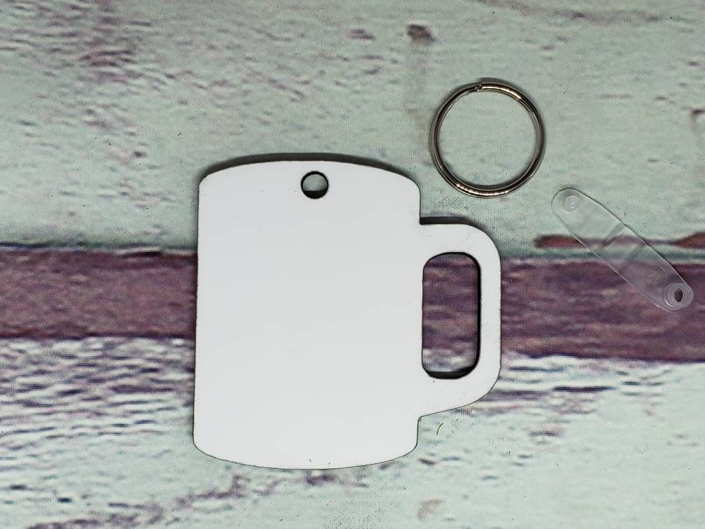 Coffee Cup Sublimation Blank | Key Chain | Key Ring Sublimation