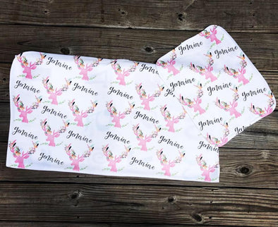 Pink Deer Baby Blanket & Burp Cloth