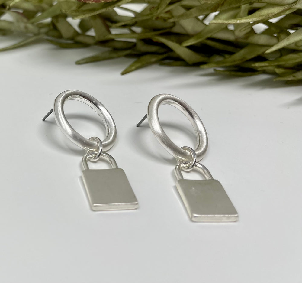 Open Circle Lock Earrings