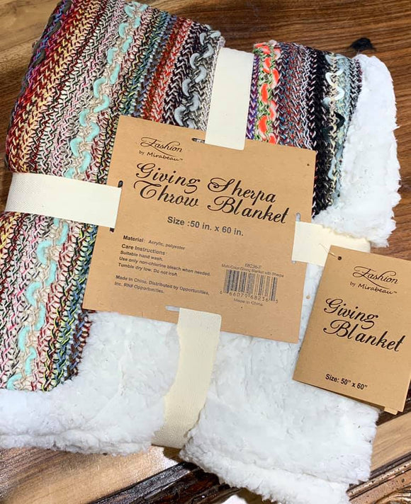Giving Blanket With Sherpa Liner-Multi Color