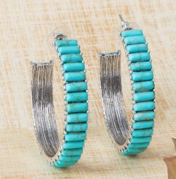 Giddy Up Earrings-Turquoise