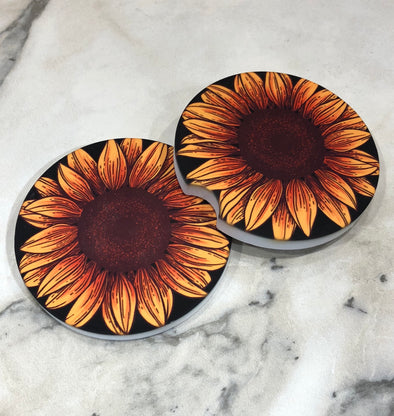 Sunflower Sand Stone Car Coasters