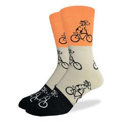 Men's King Size Orange Dog Riding Bike Socks - Good Luck Sock