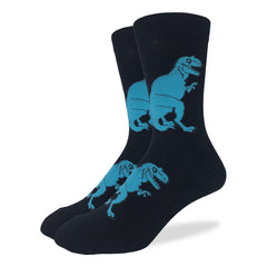 Men's Black T-Rex Dinosaur Socks - Good Luck Sock