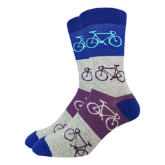 Men's Blue & Grey Checkered Bicycle Socks - Good Luck Sock