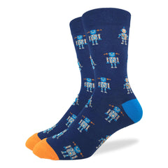 Men's Navy Robot Socks - Good Luck Sock