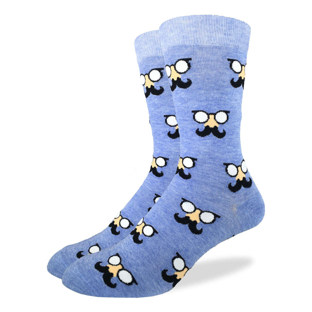 Men's Blue Moustache Socks