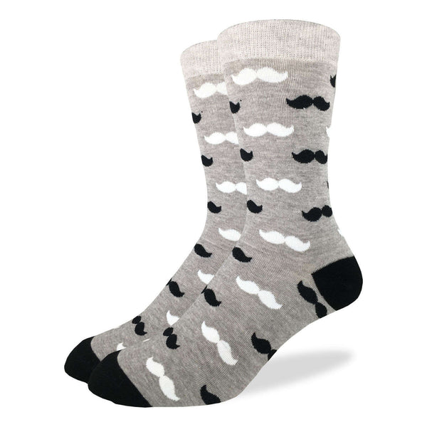 Men's Black & Grey Moustache Socks