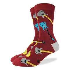 Men's Red Guitar Socks - Good Luck Sock