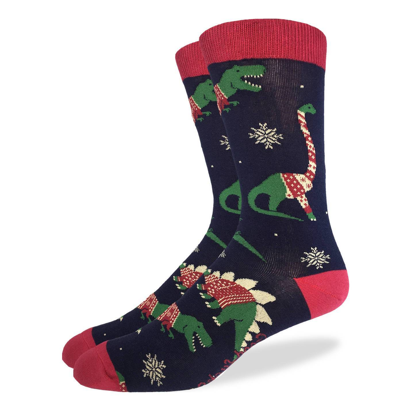 Men's Christmas Sweater Dinosaurs Socks - Good Luck Sock