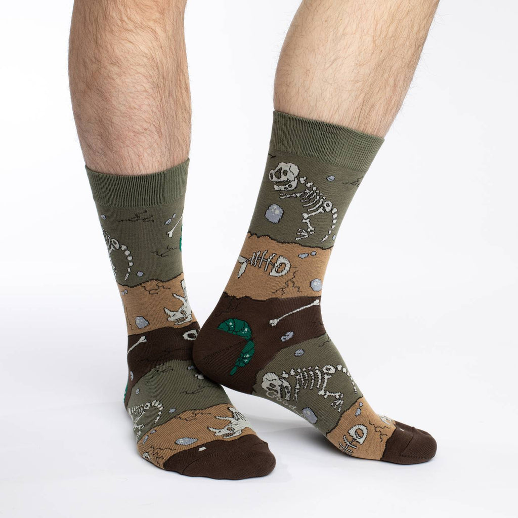 Men's King Size Dinosaur Fossil Layers Socks