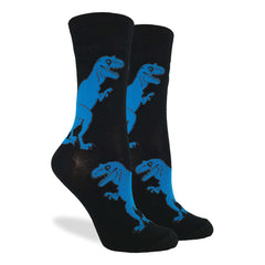 Women's Black T-Rex Dinosaur Socks - Good Luck Sock