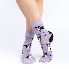 Women's Boston Terrier Socks - Good Luck Sock