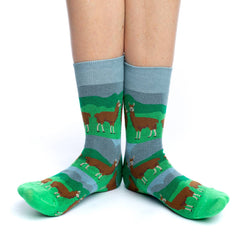 Women's Prairie Llama Socks - Good Luck Sock