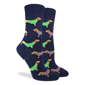 Women's Blue Wiener Dog Socks