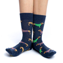Women's Blue Wiener Dog Socks - Good Luck Sock