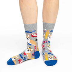 Women's Corgi's in London Socks - Good Luck Sock