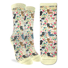 Women's Floral Dachshunds Socks - Good Luck Sock