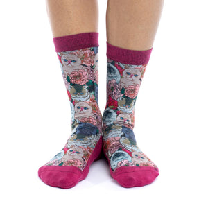 Women's Floral Cats Socks