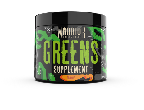 Warrior Greens is a superfood supplements including spirulina available in orange or sour apple flavour with 30 servings per tub