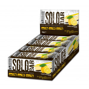 warrior nutrition solo high protein low carb and fat snack bars, containing 11g protein in just 118 calories, available in lemon cheesecake and double chocolate flavour!