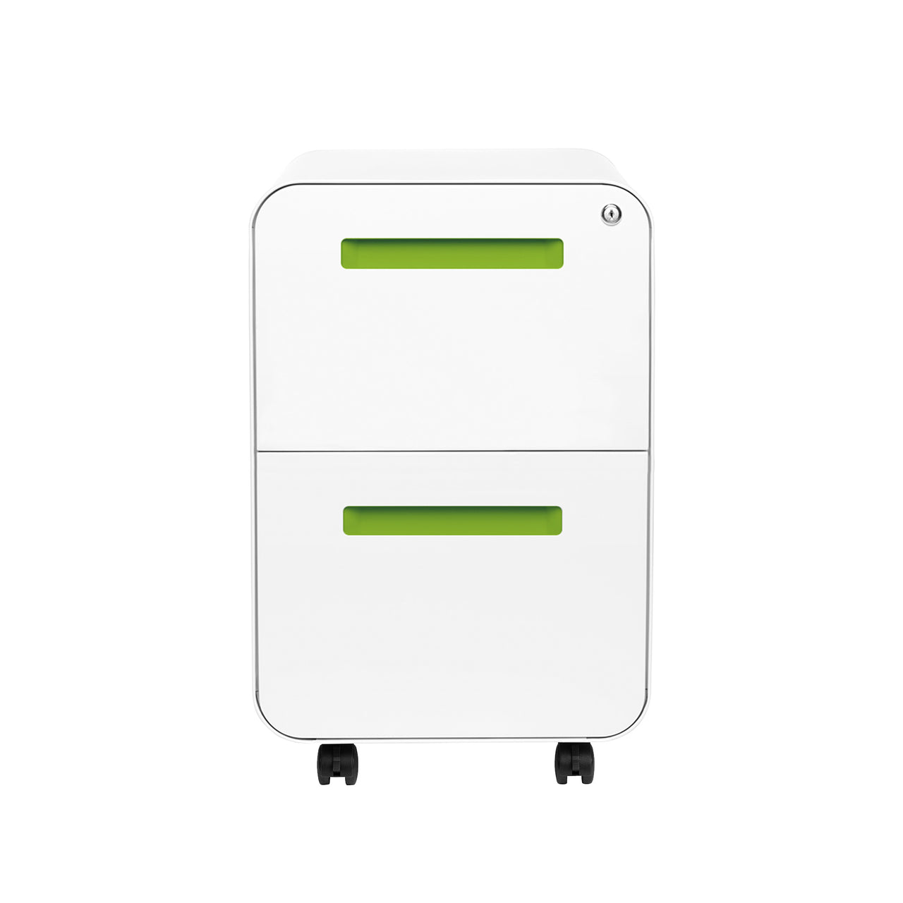Stockpile Curve 2-Drawer File Cabinet (White/Green)