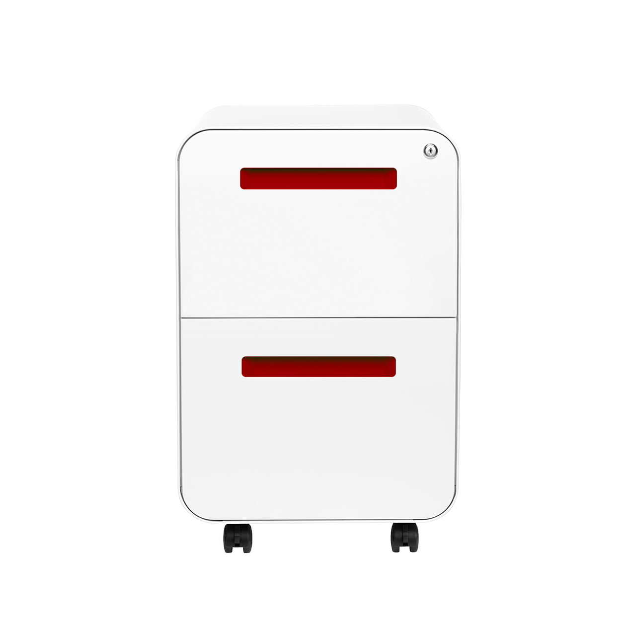 Stockpile Curve 2-Drawer File Cabinet (White/Red)