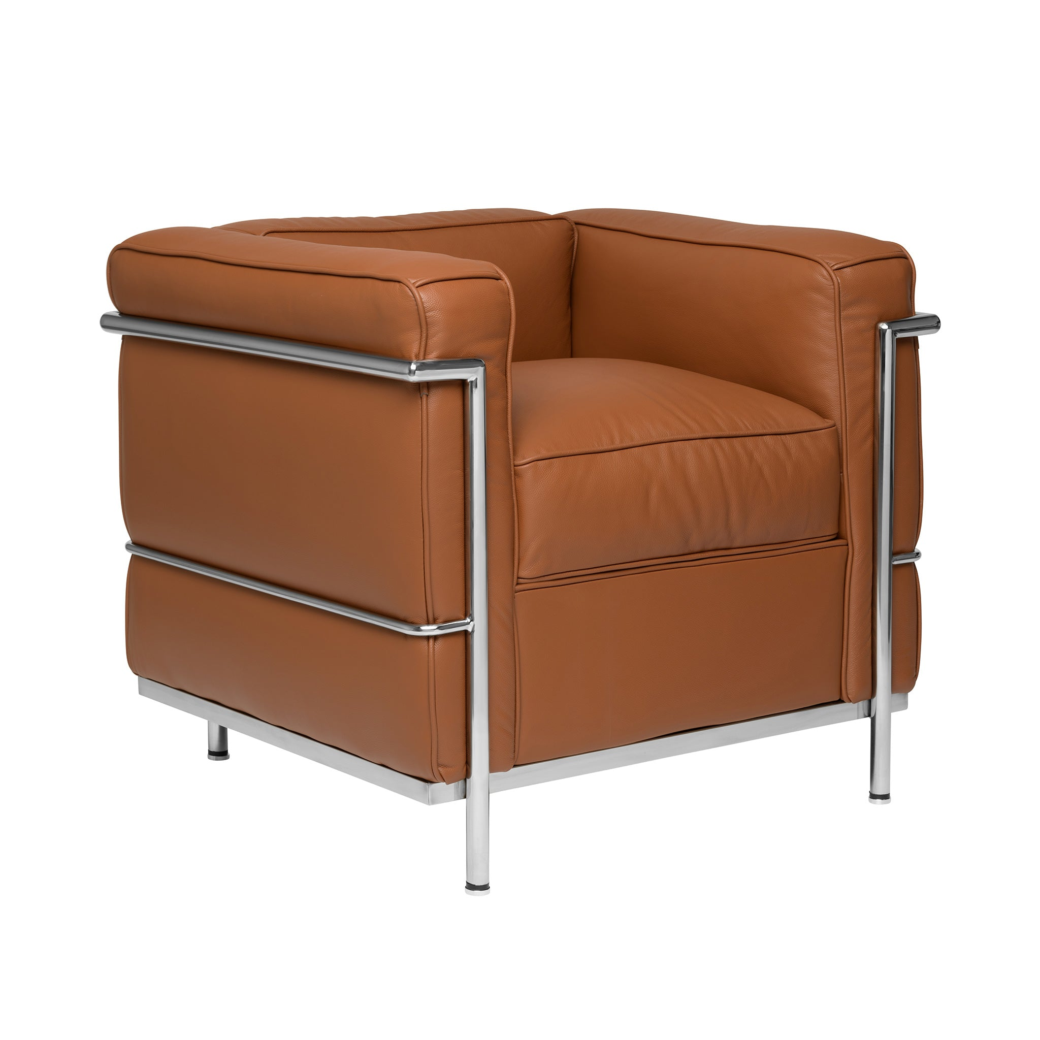 Carnegie Le Corbusier LC2 Armchair (Brown/Chrome Frame)